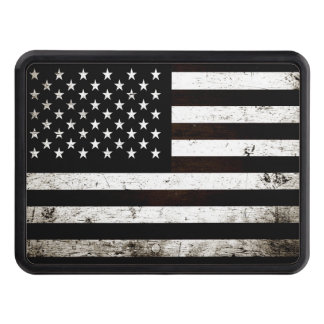 Black Grunge American Flag 2 Tow Hitch Covers