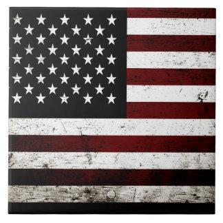 Black Grunge American Flag Ceramic Tile