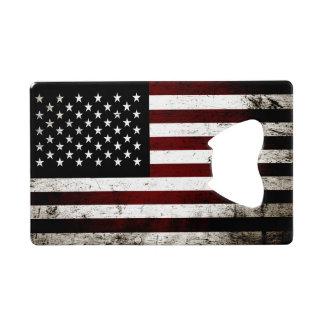 Black Grunge American Flag Credit Card Bottle Opener