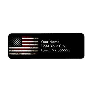 Black Grunge American Flag Label