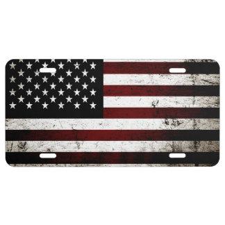 Black Grunge American Flag License Plate