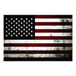 Black Grunge American Flag Art Photo