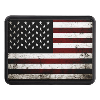 Black Grunge American Flag Tow Hitch Covers