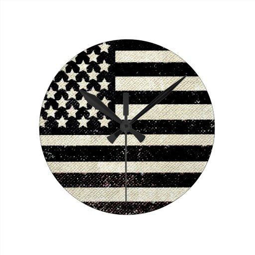 Black grunge American flag Wallclocks