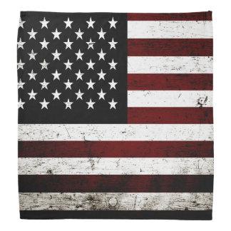 Black Grunge American Flag Bandana