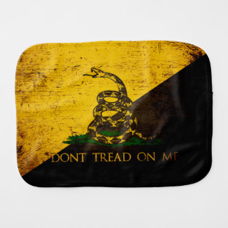 Black Grunge Anarcho Gadsden Flag Burp Cloth