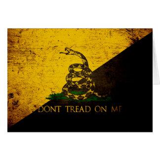 Black Grunge Anarcho Gadsden Flag Greeting Card