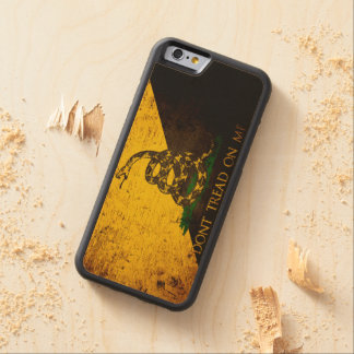 Black Grunge Anarcho Gadsden Flag Carved Maple iPhone 6 Bumper Case
