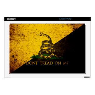 "Black Grunge Anarcho Gadsden Flag Decal For 17"" Laptop"