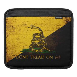 Black Grunge Anarcho Gadsden Flag iPad Sleeve