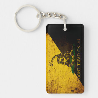 Black Grunge Anarcho Gadsden Flag Rectangle Acrylic Keychain