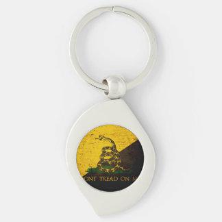 Black Grunge Anarcho Gadsden Flag Keychains