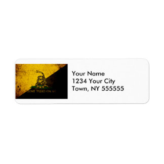 Black Grunge Anarcho Gadsden Flag Return Address Label