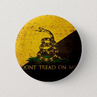 Black Grunge Anarcho Gadsden Flag Pinback Button