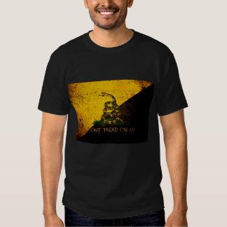 Black Grunge Anarcho Gadsden Flag Shirt