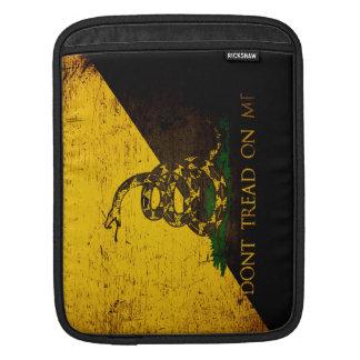 Black Grunge Anarcho Gadsden Flag Sleeve For iPads