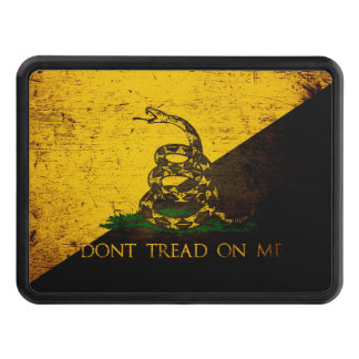 Black Grunge Anarcho Gadsden Flag Tow Hitch Cover