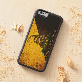 Black Grunge Anarcho Gadsden Flag Carved® Maple iPhone 6 Bumper Case