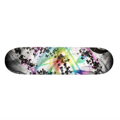Black grunge and rainbow skateboard decks