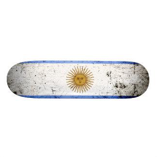 Black Grunge Argentina Flag Skateboard