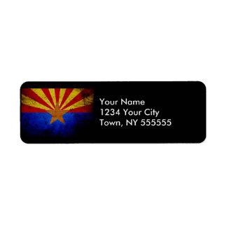 Black Grunge Arizona State Flag Label