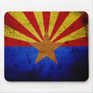 Black Grunge Arizona State Flag Mouse Pad