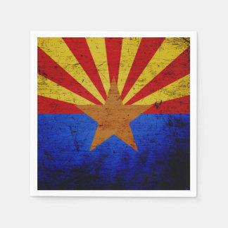 Black Grunge Arizona State Flag Paper Napkins