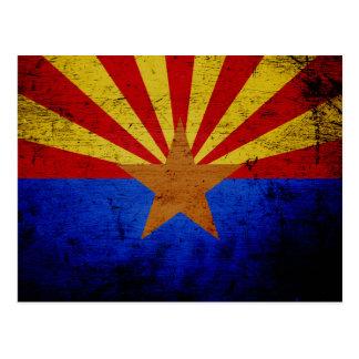 Black Grunge Arizona State Flag Postcard