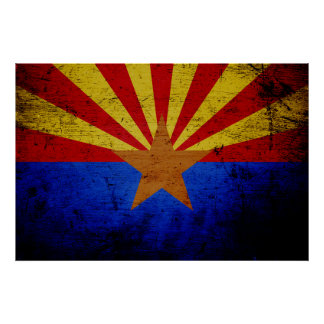Black Grunge Arizona State Flag Poster
