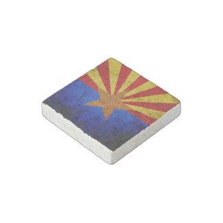 Black Grunge Arizona State Flag Stone Magnet