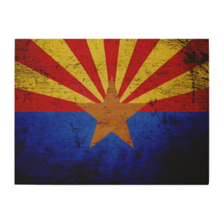 Black Grunge Arizona State Flag Wood Wall Decor