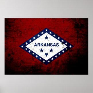 Black Grunge Arkansas State Flag Poster