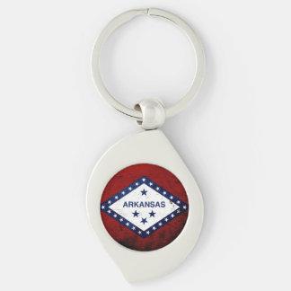 Black Grunge Arkansas State Flag Silver-Colored Swirl Metal Keychain