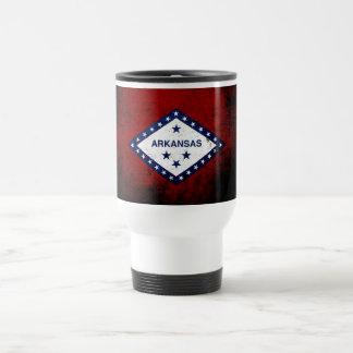 Black Grunge Arkansas State Flag Travel Mug