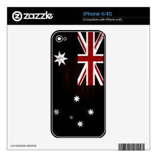 Black Grunge Australia Flag 2 iPhone 4 Decal