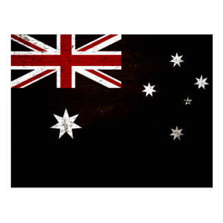 Black Grunge Australia Flag 2 Postcard