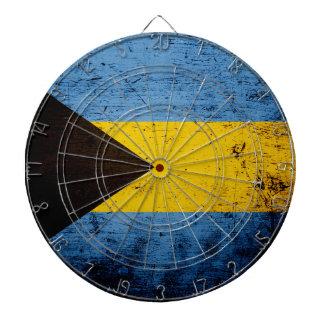 Black Grunge Bahamas Flag Dartboard With Darts