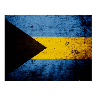 Black Grunge Bahamas Flag Postcard