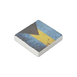 Black Grunge Bahamas Flag Stone Magnet