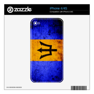 Black Grunge Barbados Flag Decal For The iPhone 4S
