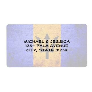 Black Grunge Barbados Flag Label