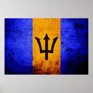 Black Grunge Barbados Flag Poster