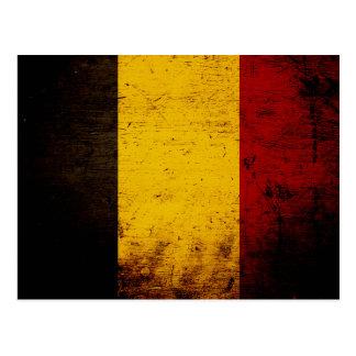 Black Grunge Belgium Flag Postcards