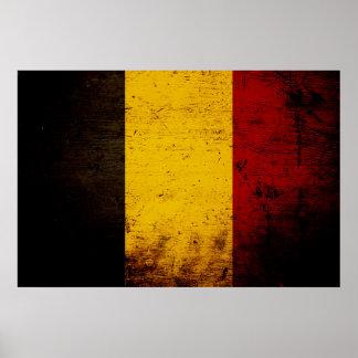 Black Grunge Belgium Flag Poster