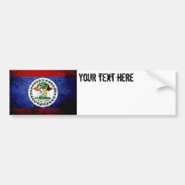 Black Grunge Belize Flag Bumper Sticker