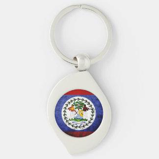 Black Grunge Belize Flag Keychain