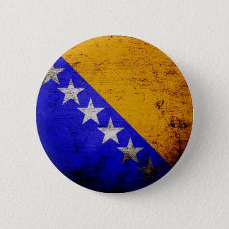 Black Grunge Bosnia and Herzegovina Flag Button