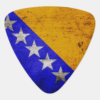 Black Grunge Bosnia and Herzegovina Flag Guitar Pick