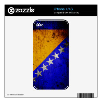 Black Grunge Bosnia and Herzegovina Flag Decals For The iPhone 4S