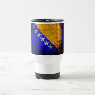 Black Grunge Bosnia and Herzegovina Flag Travel Mug